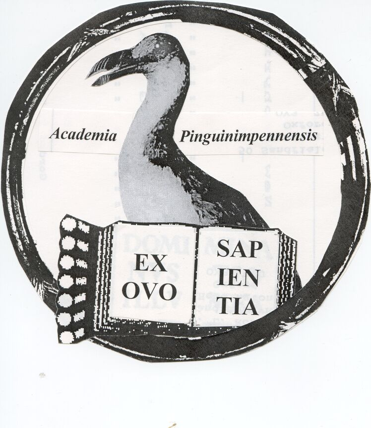 "Auksford crest: a great auk disp[laying an open book with the words ""Ex ovo sapientia"""